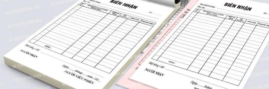 Các đơn vị in ấn nhận in biên nhận giá rẻ quận tân phú